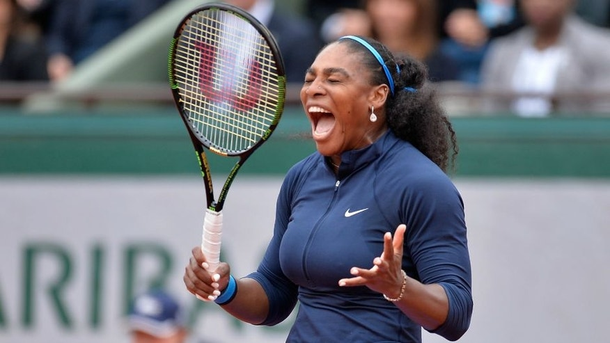 <<enter caption here>> at Roland Garros on June 4, 2016 in Paris, France.,PARIS, FRANCE - JUNE 04: Serena Williams of the United states of America reacts during her women's singles final match against Garbin Muguruza of Spain on day fourteen of the 2016 French Open at Roland Garros on June 4, 2016 in Paris, France. (Photo by Aurelien Meunier/Getty Images)