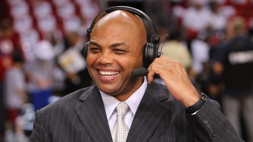 MIAMI, FL - JUNE 21: Analyst Charles Barkley shares a laugh before the game against the Miami Heat and the Oklahoma City Thunder during Game Five of the 2012 NBA Finals at American Airlines Arena on June 21, 2012 in Miami, Florida. NOTE TO USER: User expressly acknowledges and agrees that, by downloading and or using this Photograph, user is consenting to the terms and conditions of the Getty Images License Agreement. Mandatory Copyright Notice: Copyright 2012 NBAE (Photo by Joe Murphy/NBAE via Getty Images)
