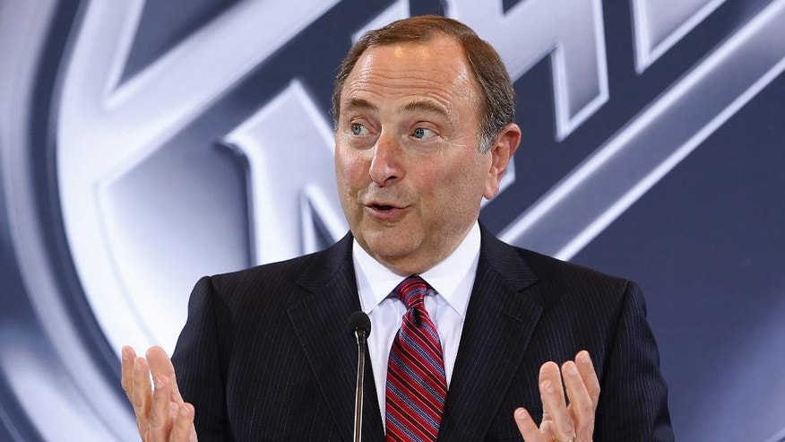 NHL Commissioner Gary Bettman speaks during a news conference Wednesday, June 22, 2016, in Las Vegas. Bettman announced an expansion franchise to Las Vegas after the league's board of governors met in Las Vegas. (AP Photo/John Locher)