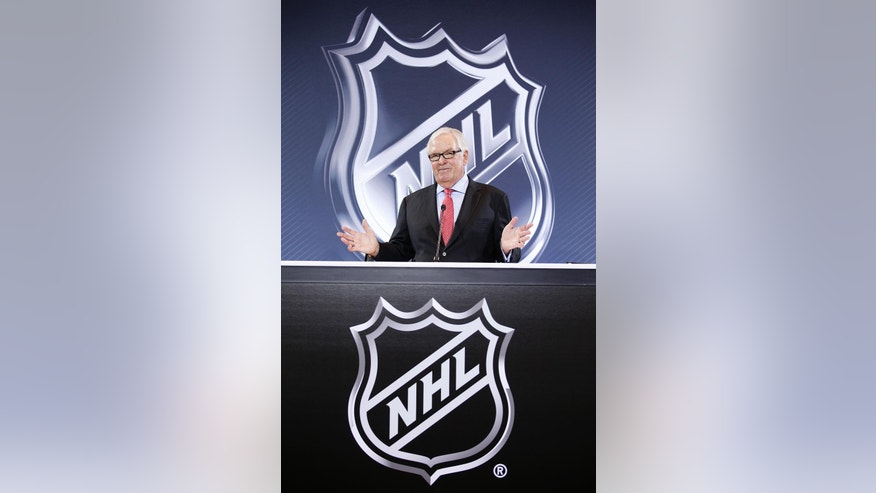 Bill Foley speaks during a news conference Wednesday, June 22, 2016, in Las Vegas. NHL Commissioner Gary Bettman announced an expansion franchise to Las Vegas after the league's board of governors met in Las Vegas. Foley is the majority owner of the team. (AP Photo/John Locher)