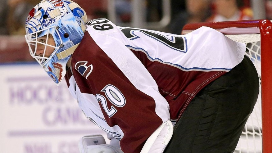 SUNRISE, FL - OCTOBER 27: Reto Berra #20 of the Colorado Avalanche looks on during a game against the Florida Panthers at BB&T Center on October 27, 2015 in Sunrise, Florida. (Photo by Mike Ehrmann/Getty Images)