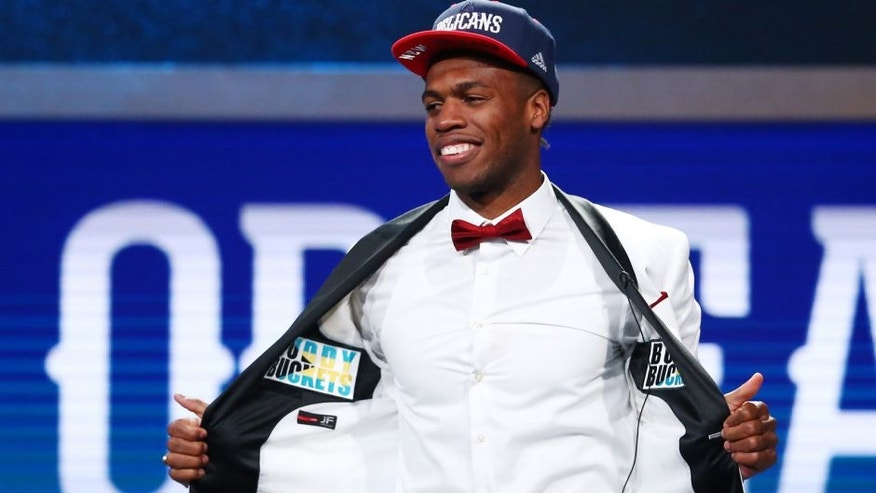 <p>Jun 23, 2016; New York, NY, USA; Buddy Hield (Oklahoma) shows off the inside of his jacket after being selected as the number six overall pick to the New Orleans Pelicans in the first round of the 2016 NBA Draft at Barclays Center. Mandatory Credit: Jerry Lai-USA TODAY Sports</p>