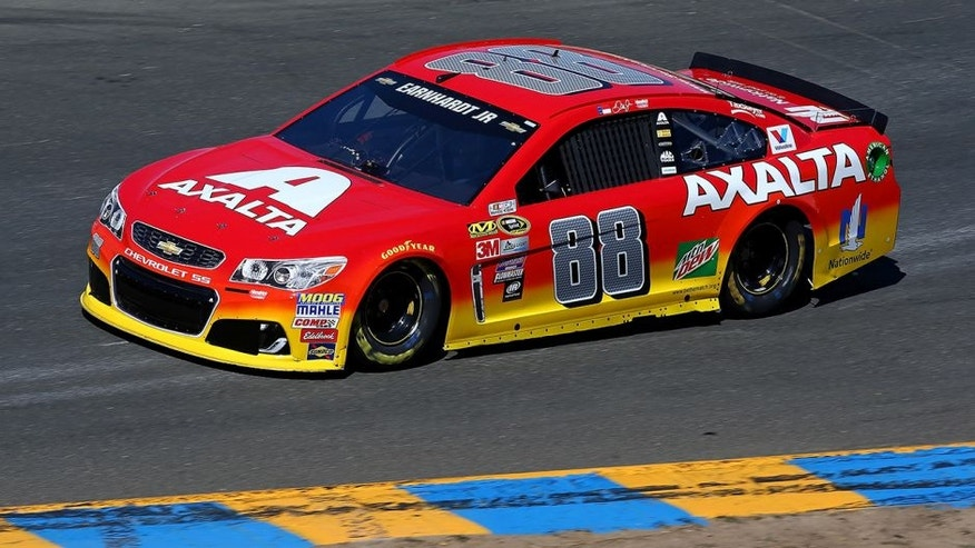 SONOMA, CA - JUNE 24: Dale Earnhardt Jr, driver of the #88 Axalta Chevrolet, practices for the NASCAR Sprint Cup Series Toyota/Save Mart 350 at Sonoma Raceway on June 24, 2016 in Sonoma, California. (Photo by Sarah Crabill/Getty Images)