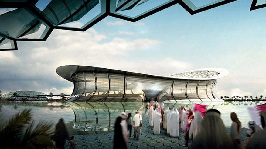 An artist rendering of Lusail Iconic Stadium.