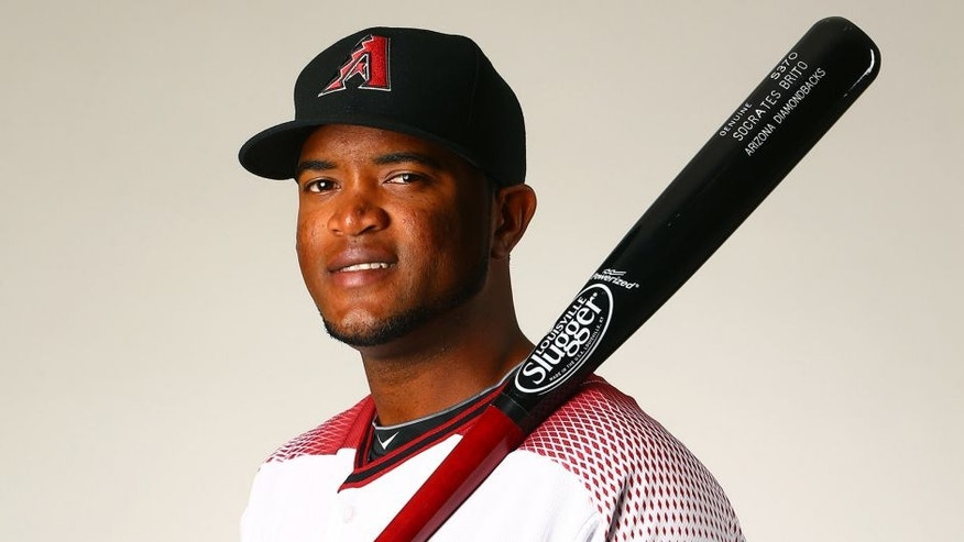 Feb 28, 2016; Scottsdale, AZ, USA; Arizona Diamondbacks outfielder Socrates Brito poses for a portrait during photo day at Salt River Fields at Talking Stick. Mandatory Credit: Mark J. Rebilas-USA TODAY Sports