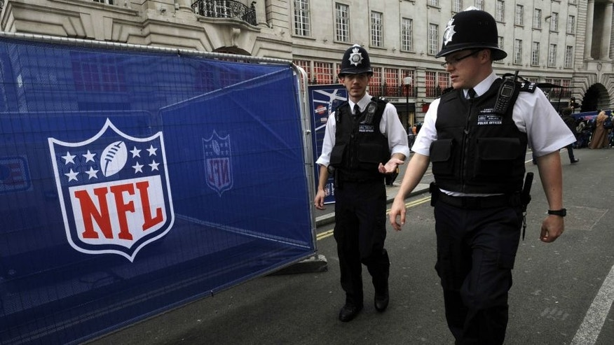 Sep 27, 2014; London, UNITED KINGDOM; Metropolitan police patrol NFL on Regent Street in advance of the International Series game between the Miami Dolphins and the Oakland Raiders. Mandatory Credit: Kirby Lee-USA TODAY Sports