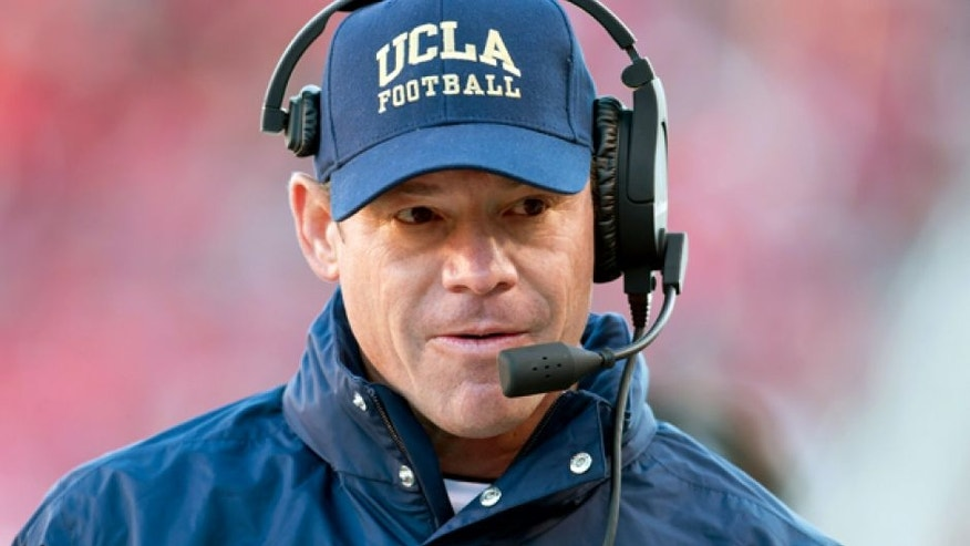Nov 21, 2015; Salt Lake City, UT, USA; UCLA Bruins head coach Jim Mora during the second half against the Utah Utes at Rice-Eccles Stadium. UCLA won 17-9. Mandatory Credit: Russ Isabella-USA TODAY Sports