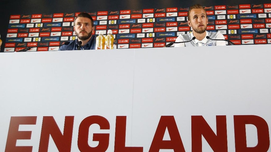 England's Harry Kane listens during a press conference at Les Fontaines in Chantilly, France, Friday, June 24, 2016. England will face Iceland in a Euro 2016 round of 16 soccer match in Nice on Monday, June 27. (AP Photo/Kirsty Wigglesworth)