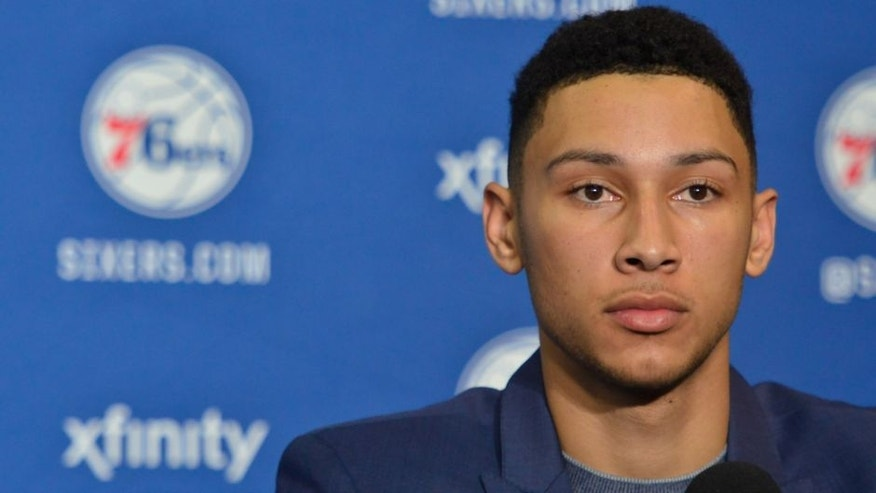 PHILADELPHIA, PA - JUNE 24: Ben Simmons attends a press conference after being selected by the Philadelphia 76ers in the 2016 NBA Draft on June 24, 2016 in Philadelphia, PA. NOTE TO USER: User expressly acknowledges and agrees that, by downloading and/or using this Photograph, user is consenting to the terms and conditions of the Getty Images License Agreement. Mandatory Copyright Notice: Copyright 2016 NBAE (Photo by David Dow/NBAE via Getty Images)