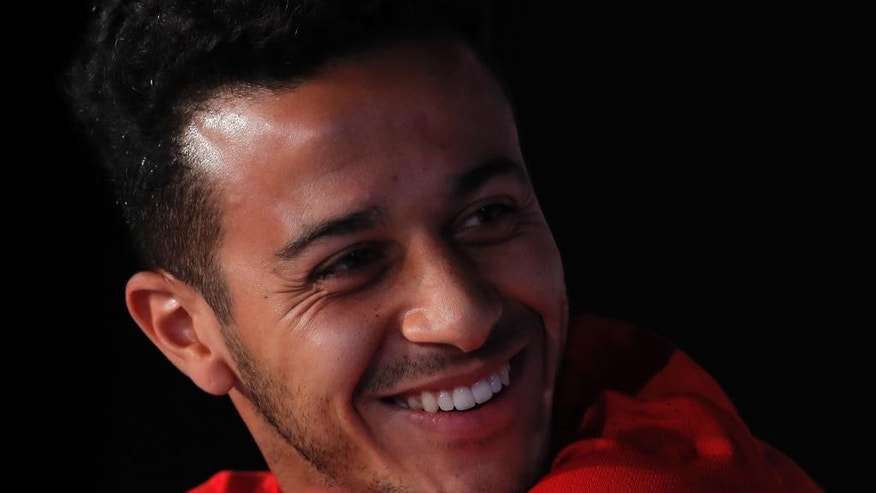 Spain's Thiago Alcantara smiles during a press conference at the Sports Complex Marcel Gaillard in Saint Martin de Re in France, Saturday, June 25, 2016. Spain will face Italy in a Euro 2016 round of 16 soccer match in Paris on Monday, June 27, 2016. (AP Photo/Manu Fernandez)