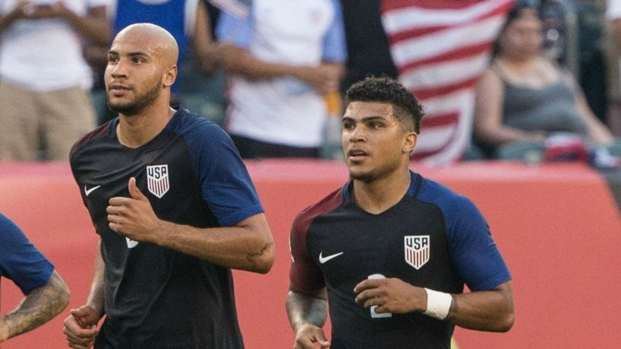 Jun 11, 2016; Philadelphia, PA, USA; United States defender Fabian Johnson (23) and defender John Brooks (6) and United States defender DeAndre Yedlin (2) in action against Paraguay in the group play stage of the 2016 Copa America Centenario. at Lincoln Financial Field. The United States won 1-0. Mandatory Credit: Bill Streicher-USA TODAY Sports