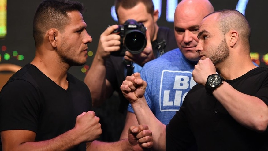 LAS VEGAS, NV - APRIL 20: (L-R) Opponents Rafael Dos Anjos of Brazil and Eddie Alvarez face off during the UFC 200 press conference at the MGM Grand Garden Arena on April 20, 2016 in Las Vegas, Nevada. (Photo by Josh Hedges/Zuffa LLC/Zuffa LLC via Getty Images)
