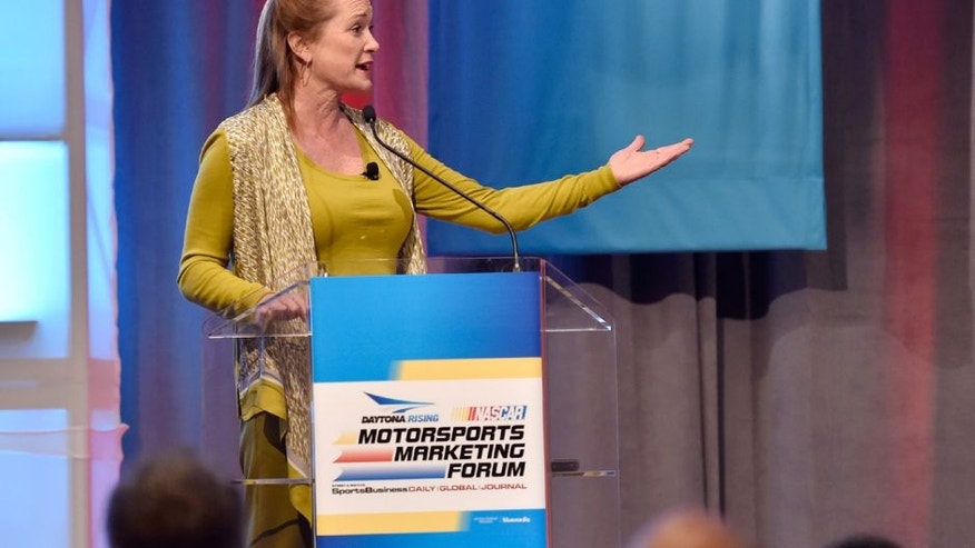 LAS VEGAS, NV - DECEMBER 02: International Speedway Corporation Chief Executive Officer Lesa France Kennedy speaks at the 16th DAYTONA Rising NASCAR Motorsports Marketing Forum at The Mirage Hotel & Casino on December 2, 2015 in Las Vegas, Nevada. (Photo by David Becker/NASCAR via Getty Images)