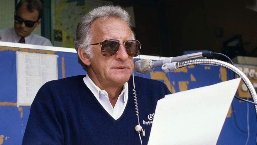 MILWAUKEE, WI - 1980: Broadcaster Bob Uecker of the Milwaukee Brewers in the booth during a game at County Stadium in the 1980s in Milwaukee, Wisconsin. (Photo by Ronald C. Modra/Sports Imagery/Getty Images)