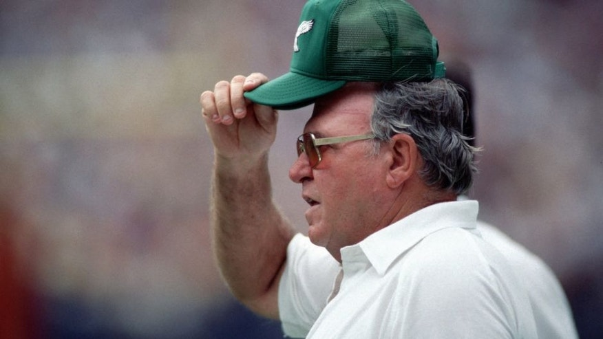 WASHINGTON, DC - SEPTEMBER 7: Head coach Buddy Ryan of the Philadelphia Eagles on the sideline during a game against the Washington Redskins at RFK Stadium on September 7, 1986 in Washington, DC. The Redskins defeated the Eagles 41-14. (Photo by George Gojkovich/Getty Images)