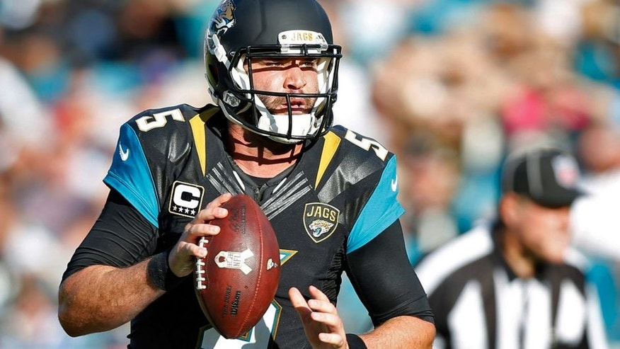 Nov 29, 2015; Jacksonville, FL, USA; Jacksonville Jaguars quarterback Blake Bortles (5) rolls out to pass against the San Diego Chargers in the fourth quarter at EverBank Field. The Chargers won 31-25. Mandatory Credit: Jim Steve-USA TODAY Sports