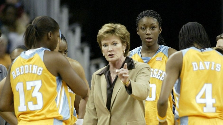 Tennessee head coach Pat Summitt talks sternly with her team during a time out against the Gamecocks Jan. 15, 2004, at Colonial Center, in Columbia, South Carolina. (Photo by Rex Brown/WireImage) *** Local Caption ***