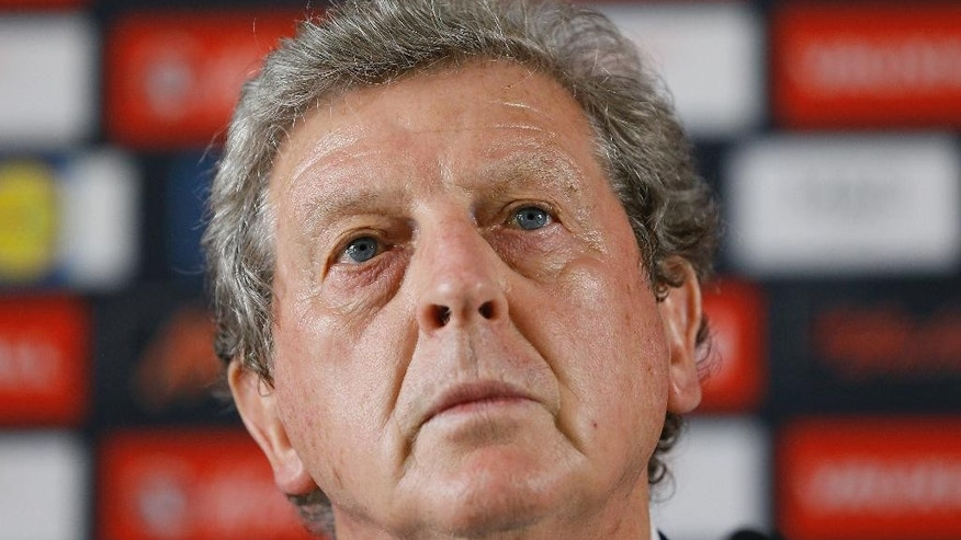 England soccer team coach Roy Hodgson listens during a press conference in Chantilly, France, Tuesday, June 28, 2016. England's soccer team was knocked out of the Euro 2016 by Iceland in a round of 16 match on Monday. (AP Photo/Kirsty Wigglesworth)