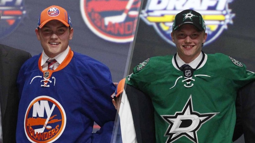 Edina's Kieffer Bellows (left) and Ham Lake's Riley Tufte were selected in the first round of the NHL Draft.