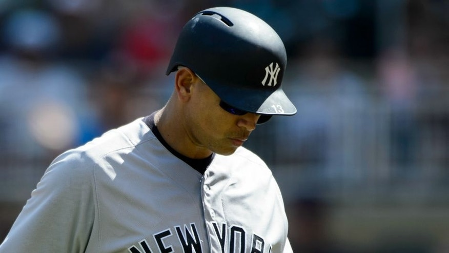 MINNEAPOLIS, MN - JUNE 18: Alex Rodriguez #13 of the New York Yankees reacts to striking out against the Minnesota Twins during the game on June 18, 2016 at Target Field in Minneapolis, Minnesota. The Yankees defeated the Twins 7-6. (Photo by Hannah Foslien/Getty Images)