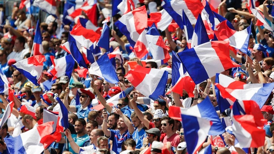 France supporters wave flags on the stands before the Euro 2016 round of 16 soccer match between France and Ireland, at the Grand Stade in Decines-­Charpieu, near Lyon, France, Sunday, June 26, 2016. (AP Photo/Pavel Golovkin)