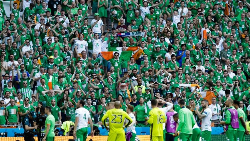 Ireland supporters applaud their players  at the end of the the Euro 2016 round of 16 soccer match between France and Ireland, at the Grand Stade in Decines-­Charpieu, near Lyon, France, Sunday, June 26, 2016. (AP Photo/Pavel Golovkin)