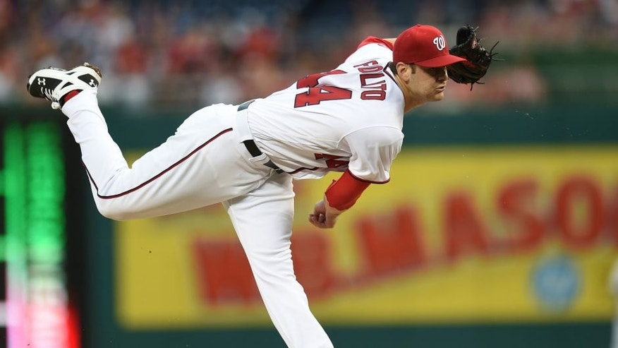 <p>BALTIMORE, MD - JUNE 28: Lucas Giolito #44 of the Washington Nationals pitches in the first inning during a baseball game against the New York Mets at Nationals Park on June 28, 2016 in Washington, DC. (Photo by Mitchell Layton/Getty Images)</p>