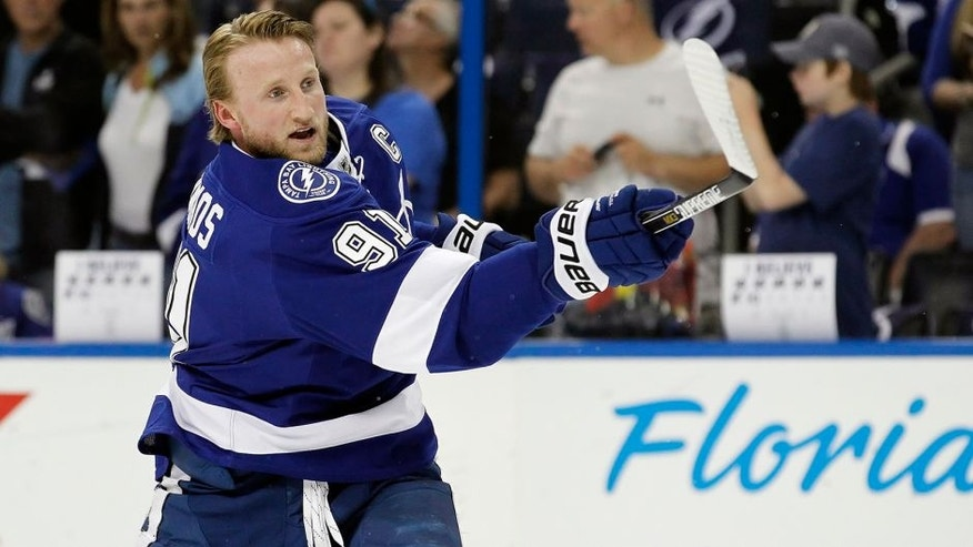 May 6, 2015; Tampa, FL, USA; Tampa Bay Lightning center Steven Stamkos (91) works out prior to game three of the second round of the 2015 Stanley Cup Playoffs against the Montreal Canadiens at Amalie Arena. Mandatory Credit: Kim Klement-USA TODAY Sports