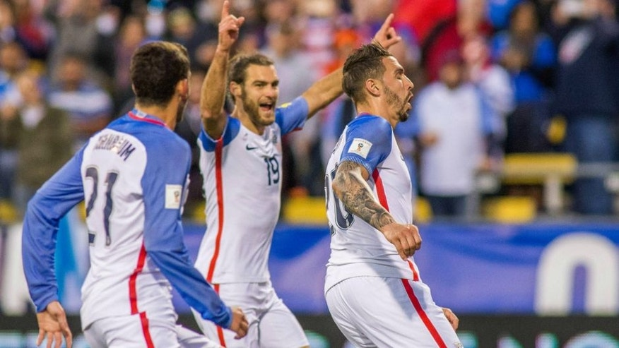 Mar 29, 2016; Columbus, OH, USA; United States defender Geoff Cameron (20) celebrates with teammates after scoring a goal in the first half against Guatemala during the semifinal round of the 2018 FIFA World Cup qualifying soccer tournament at MAPFRE Stadium. Mandatory Credit: Trevor Ruszkowski-USA TODAY Sports
