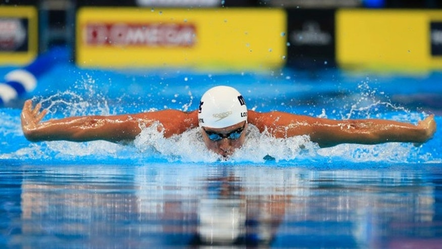 Ryan Lochte swims in the men's 200-meter individual medley preliminaries at the U.S. Olympic swimming trials, Thursday, June 30, 2016, in Omaha, Neb. (AP Photo/Orlin Wagner)
