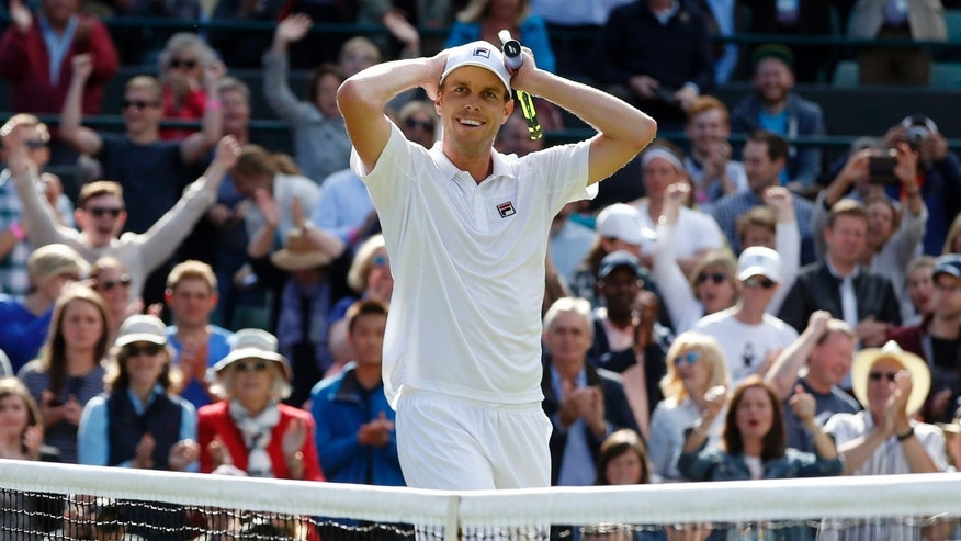 July 2, 2016: Sam Querrey of the U.S celebrates after beating Novak Djokovic of Serbia in their men's singles match on day six of the Wimbledon Tennis Championships in London