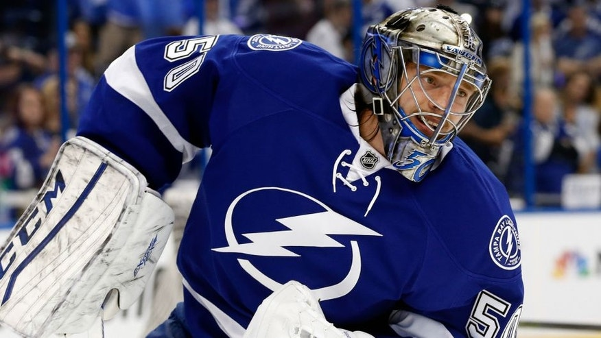 May 18, 2016; Tampa, FL, USA; Tampa Bay Lightning goalie Kristers Gudlevskis (50) works out prior to game three of the Eastern Conference Final of the 2016 Stanley Cup Playoffs at Amalie Arena. Mandatory Credit: Kim Klement-USA TODAY Sports