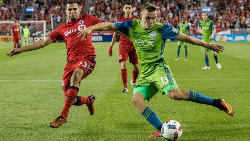 Seattle Sounders' Jordan Morris, right, winds up for a kick as Toronto FC's Steven Beitashour defends during the second half of an MLS soccer game Saturday, July 2, 2016, in Toronto. (Mark Blinch/The Canadian Press via AP)
