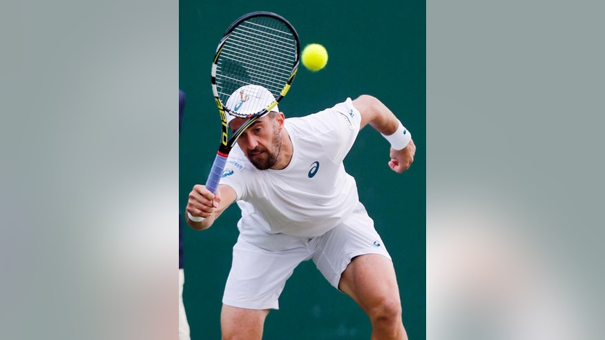 Steve Johnson of the U.S returns to Grigor Dimitrov of Bulgaria during their men's singles match on day six of the Wimbledon Tennis Championships in London, Saturday, July 2, 2016. (AP Photo/Ben Curtis)