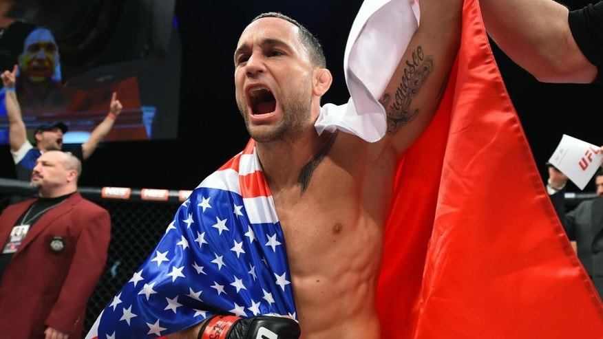 LAS VEGAS, NV - DECEMBER 11: Frankie Edgar reacts to his victory over Chad Mendes in their featherweight bout during the TUF Finale event inside The Chelsea at The Cosmopolitan of Las Vegas on December 11, 2015 in Las Vegas, Nevada. (Photo by Jeff Bottari/Zuffa LLC/Zuffa LLC via Getty Images)