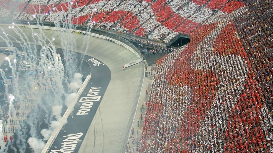 BRISTOL, TN - AUGUST 25: Fireworks go off during the National Anthem prior to the start of the NASCAR Nextel Cup Series Sharpie 500 at Bristol Motor Speedway on August 25, 2007 in Bristol, Tennessee. (Photo by Maxx Wolfson/Getty Images)