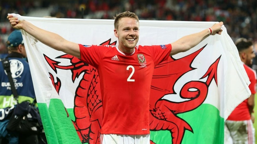 Chris Gunter of Wales celebrate during the UEFA EURO 2016 quarter final match between Wales and Belgium on July 2, 2016 at the Stade Pierre Mauroy in Lille, France.(Photo by VI Images via Getty Images)