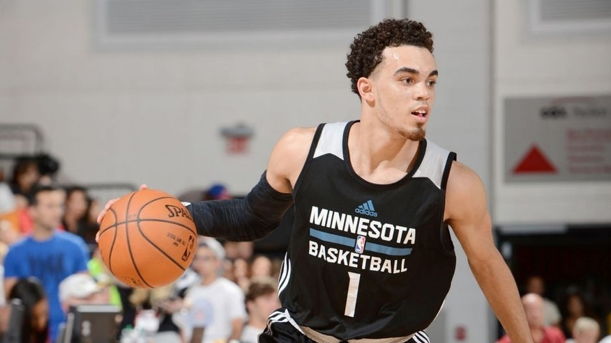 <p>Friday, July 17: The Minnesota Timberwolves' Tyus Jones handles the ball against the Cleveland Cavaliers in a summer league game at the Cox Pavilion in Las Vegas, Nevada.</p>