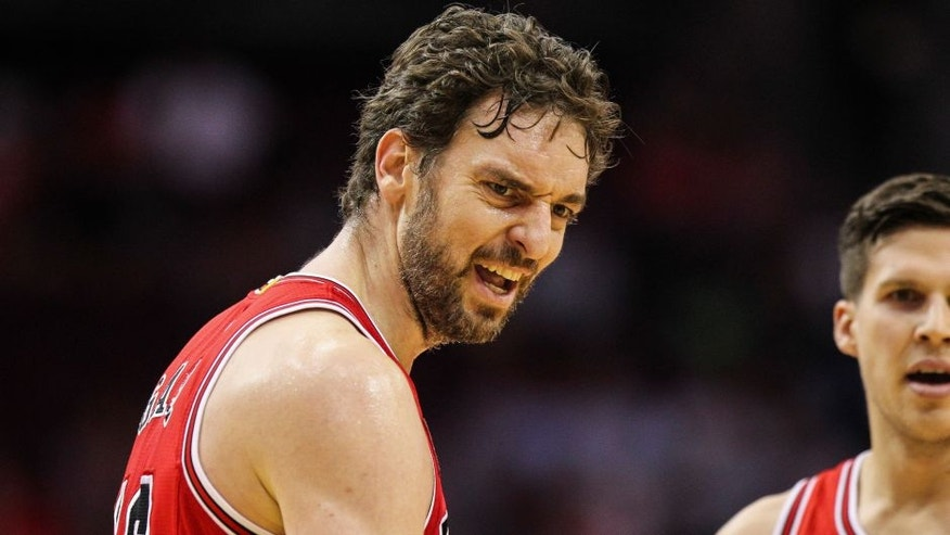 Mar 31, 2016; Houston, TX, USA; Chicago Bulls center Pau Gasol (16) reacts after a play during the first quarter against the Houston Rockets at Toyota Center. Mandatory Credit: Troy Taormina-USA TODAY Sports