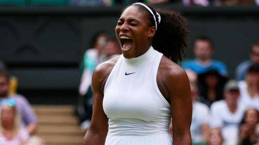 LONDON, ENGLAND - JULY 05: Serena Williams of The United States reacts during the Ladies Singles Quarter Finals match against Anastasia Pavlyuchenkova of Russia on day eight of the Wimbledon Lawn Tennis Championships at the All England Lawn Tennis and Croquet Club on July 5, 2016 in London, England. (Photo by Adam Pretty/Getty Images)