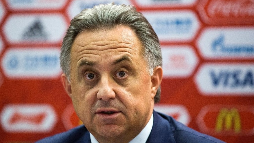 Russian Sports Minister Vitaly Mutko speaks during a news conference in Moscow, Russia, Tuesday, July 5, 2016. FIFA has revealed the ticket prices for the 2018 World Cup, with the cost of the cheapest tickets for foreign fans up more than 16 percent since 2014. (AP Photo/Pavel Golovkin)