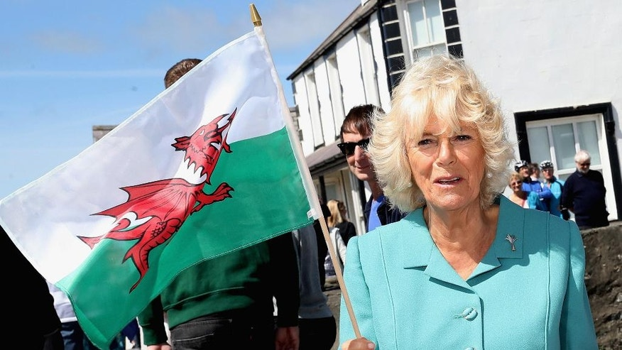 Camilla The Duchess of Cornwall waves a Welsh flag in the village of Aberdaron, north Wales, on the second day of an annual summer visit to Wales with her husband Prince Charles Prince of Wales, Tuesday July 5, 2016. Wales soccer team face-off against Portugal on upcoming Wednesday during the Euro 2016 semi-final. (Chris Jackson / PA via AP)