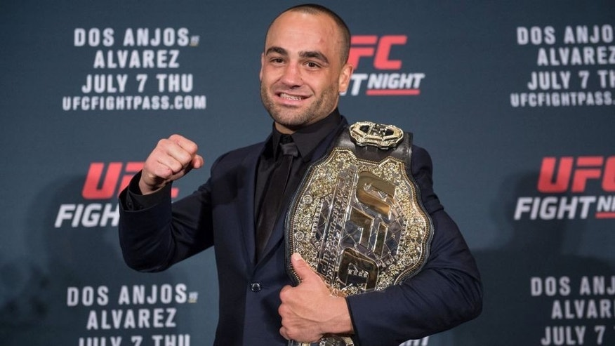 LAS VEGAS, NV - JULY 08: Eddie Alvarez poses for a picture after defeating Rafael Dos Anjos of Brazil in their lightweight championship bout during the UFC Fight Night event inside the MGM Grand Garden Arena on July 8, 2016 in Las Vegas, Nevada. (Photo by Brandon Magnus/Zuffa LLC/Zuffa LLC via Getty Images)