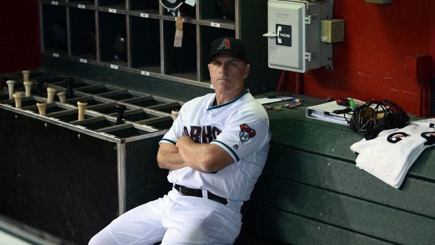 Jun 28, 2016; Phoenix, AZ, USA; Arizona Diamondbacks manager Chip Hale (3) looks on prior to facing the Philadelphia Phillies at Chase Field. Mandatory Credit: Joe Camporeale-USA TODAY Sports