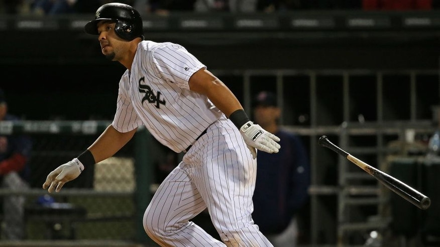 CHICAGO, IL - MAY 03: Jose Abreu #79 of the Chicago White Sox hits a two run double in the 8th inning against the Boston Red Sox at U.S. Cellular Field on May 3, 2016 in Chicago, Illinois. The White Sox defeated the Red Sox 4-1. (Photo by Jonathan Daniel/Getty Images)
