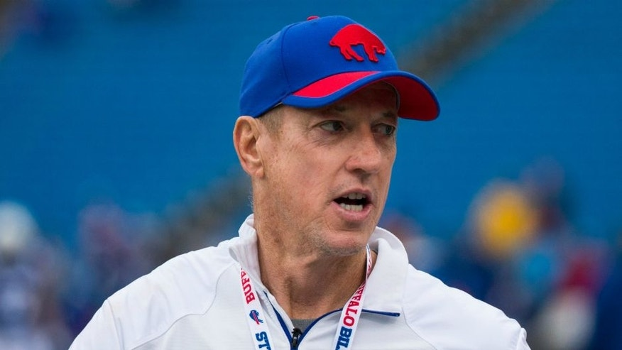 ORCHARD PARK, NY - SEPTEMBER 13: Hall of Famer Jim Kelly walks the field during warmups before the game between the Buffalo Bills and the Indianapolis Colts on September 13, 2015 at Ralph Wilson Stadium in Orchard Park, New York. Buffalo defeats Indianapolis 27-14. (Photo by Brett Carlsen/Getty Images) *** Local Caption *** Jim Kelly,ORCHARD PARK, NY - SEPTEMBER 13: Hall of Famer Jim Kelly walks the field during warmups before the game between the Buffalo Bills and the Indianapolis Colts on September 13, 2015 at Ralph Wilson Stadium in Orchard Park, New York. Buffalo defeats Indianapolis 27-14. (Photo by Brett Carlsen/Getty Images)