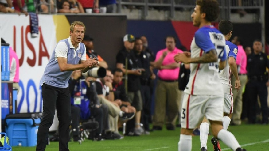 USA's Jurgen Klinsmann is pictured during the Copa America Centenario semifinal football match against Argentina in Houston, Texas, United States, on June 21, 2016. / AFP / Mark RALSTON (Photo credit should read MARK RALSTON/AFP/Getty Images)