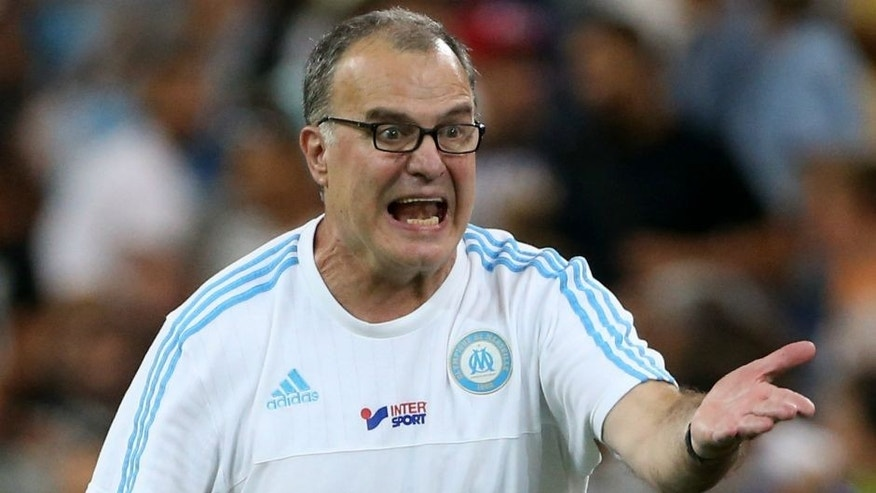 MARSEILLE - AUGUST 8: Coach of OM Marcelo Bielsa reacts during the French Ligue 1 match between Olympique de Marseille (OM) and SM Caen at Stade Velodrome on August 8, 2015 in Marseille, France. (Photo by Jean Catuffe/Getty Images)