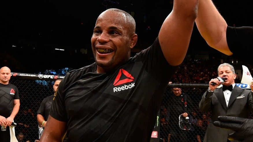 LAS VEGAS, NV - JULY 09: Daniel Cormier reacts to his victory over Anderson Silva of Brazil in their light heavyweight bout during the UFC 200 event on July 9, 2016 at T-Mobile Arena in Las Vegas, Nevada. (Photo by Josh Hedges/Zuffa LLC/Zuffa LLC via Getty Images)