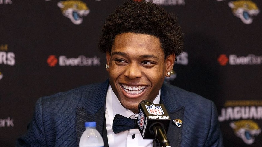<p>JACKSONVILLE, FL - APRIL 29: Cornerback Jalen Ramsey of the Jacksonville Jaguars speaking to the media for the first time at EverBank Field on April 29, 2016 in Jacksonville, Florida. The Jaguars selected Ramsey fifth overall out of Florida State University in the 2016 NFL Draft. (Photo by Don Juan Moore/Getty Images)</p>